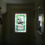 Custom stained glass window with flower