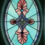 Custom oval shaped stained glass window