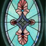 Custom oval shaped stained glass window