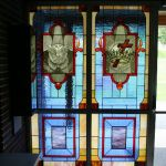 Custom stained glass windows with Dove and a Cross & Crown design
