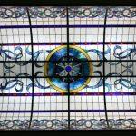 A large, complexly made stained glass window