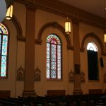 Prepping to restore the stained glass windows