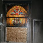 Getting ready to restore a stained glass window