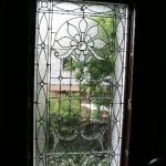 A clear & frosted stained glass window for front door