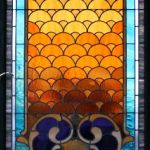 A custom made stained glass panel with gradient in center