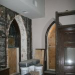 Setting up to restore a stained glass window